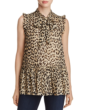 kate spade new york Metallic Clipped Dot Leopard Print Blouse