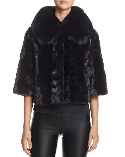 Maximilian Furs - Fox Fur-Collar Saga Mink Fur Coat - 100% Exclusive