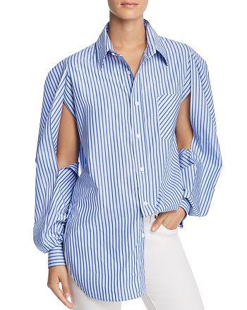 PETERSYN - Celine Striped Cutout-Sleeve Shirt