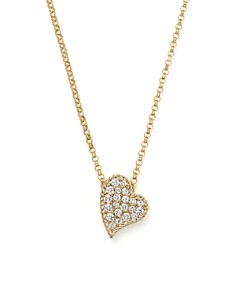 Roberto Coin - 18K Yellow Gold Tiny Treasures Princess Diamond Heart Necklace, 18""
