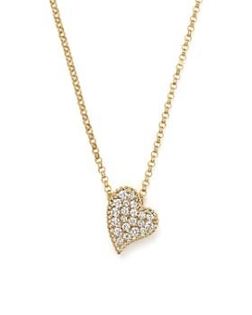 "Roberto Coin - 18K Yellow Gold Tiny Treasures Princess Diamond Heart Necklace, 18"""
