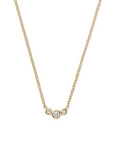 """Zoë Chicco - 14K Yellow Gold Small Triple Graduated Diamond Curved Bezel Necklace, 14"""""""