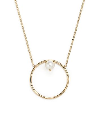 Zoë Chicco - 14K Yellow Gold Cultured Freshwater Pearl Circle Pendant Necklace, 18""