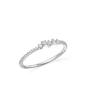 Bloomingdale's - 14K White Gold Mosaic Diamond Stacking Ring