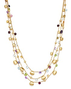 Marco Bicego - 18K Yellow Gold Paradise Teardrop Three Strand Gemstone Necklace, 16""