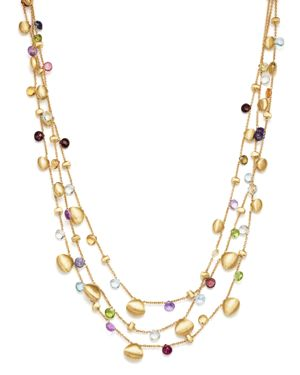 Marco Bicego 18K Yellow Gold Paradise Teardrop Three Strand Gemstone Necklace, 16