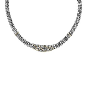 "LAGOS - 18K Gold & Sterling Silver Torsade Rope Station Necklace, 16"""