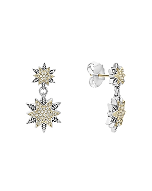 Lagos 18K Gold & Sterling Silver North Star Diamond Double Drop Earrings-Jewelry & Accessories