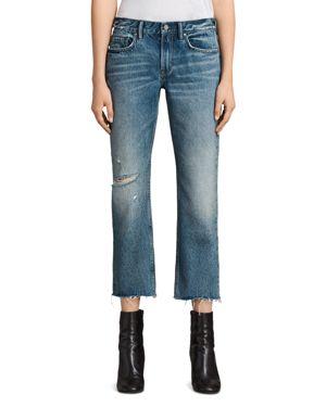 Allsaints Serene Distressed Kick Flare Jeans in Mid Indigo Blue