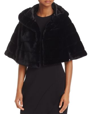 Betsey Johnson  HOODED FAUX-FUR CAPELET