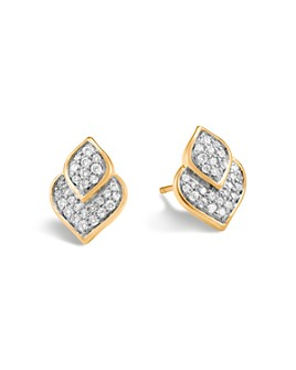 JOHN HARDY - 18K Yellow Gold Legends Naga Pavé Diamond Stud Earrings
