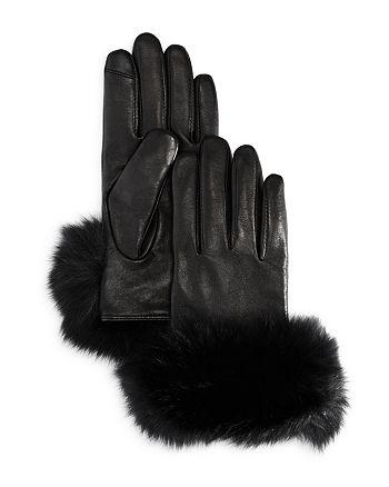 Echo - Fox Fur Trim Leather Tech Gloves
