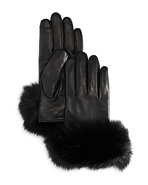Echo Fox Fur Trim Leather Gloves