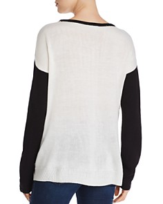Alison Andrews - Color Block Lace-Up Sweater