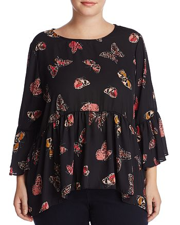 Cupio Plus - Butterfly Print Bell Sleeve Top