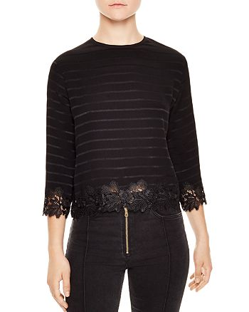 Sandro - Anig Striped Lace-Detail Crop Top