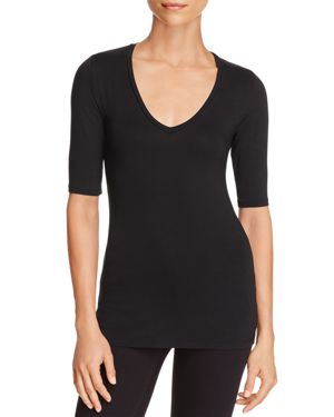 Majestic Filatures Elbow-Sleeve V-Neck Top