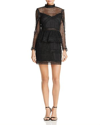AQUA - Ruffled Dot Lace Dress - 100% Exclusive