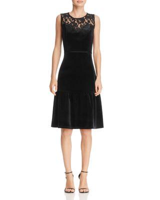$nanette Nanette Lepore Lace-Yoke Velvet Flounce Dress - Bloomingdale's