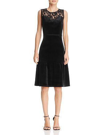 nanette Nanette Lepore - Lace-Yoke Velvet Flounce Dress