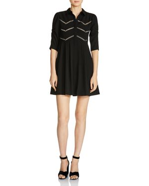 Maje Ratila Lace-Inset A-Line Mini Dress