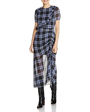 Maje Rancha Ruffled Ruched Midi Dress