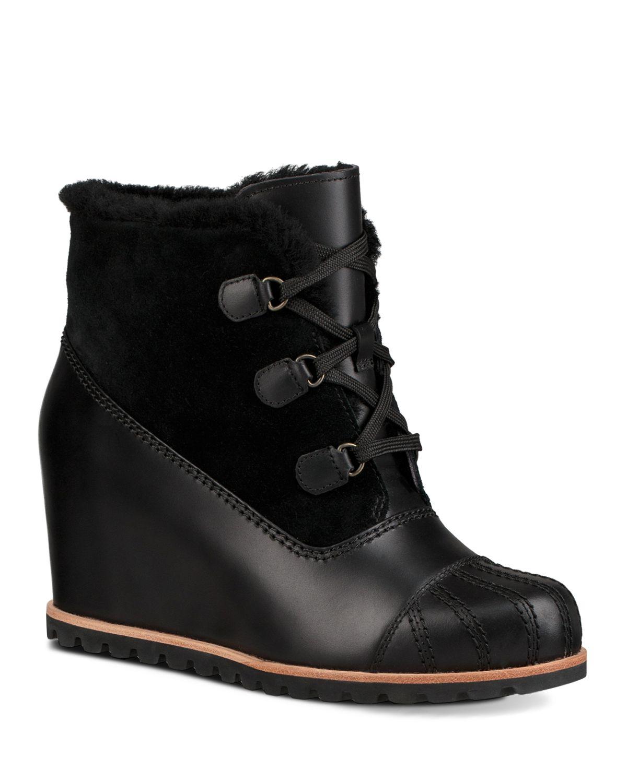 UGG Women's Alasdair Waterproof Leather, Suede & Sheepskin Wedge Booties
