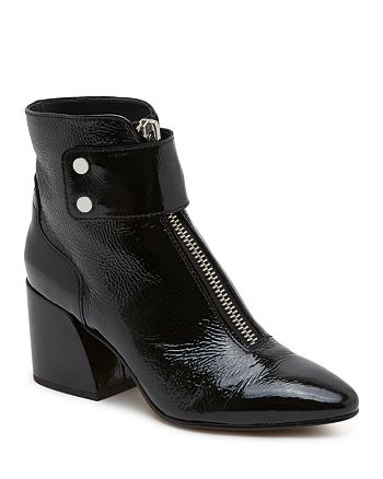 Dolce Vita - Women's Varra Patent Leather Zip Block Heel Booties