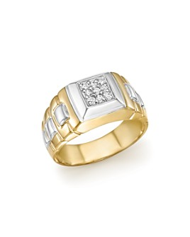 Bloomingdale's - Diamond Men's Ring in 14K White and Yellow Gold, .25 ct. t.w. - 100% Exclusive