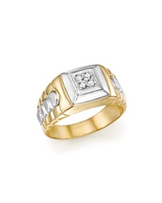 Bloomingdale's - Diamond Men's Ring in 14K White and Yellow Gold, .10 ct. t.w. - 100% Exclusive