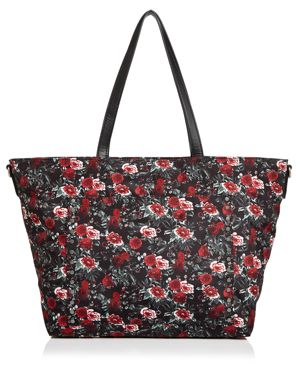 Logan Floral Nylon Baby Tote - Red in Rose Floral