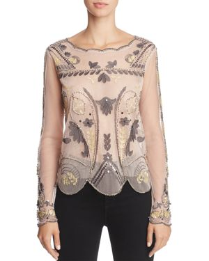 Endless Rose Embellished Mesh Top