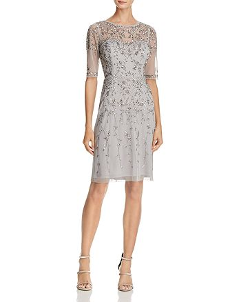 Adrianna Papell - Embellished Illusion-Neck Dress