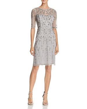 Adrianna Papell Embellished Illusion-Neck Dress