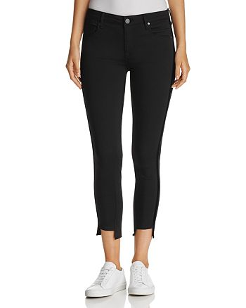 Parker Smith - Twisted Tuxedo Cropped Step-Hem Jeans in Eternal Black