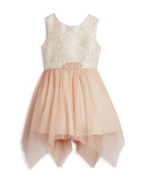 Us Angels Girls' Brocade & Tulle Sleeveless Dress - Little Kid