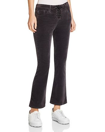 AG - Jodi Lace-Up Cropped Flare Velvet Jeans in Rich Mercury