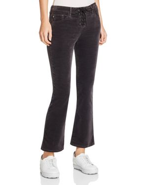 Ag Jodi Lace-Up Cropped Flare Velvet Jeans in Rich Mercury 2734566