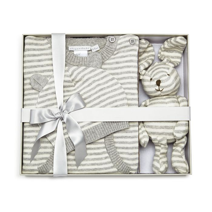 Elegant Baby - Unisex Striped Coverall, Hat & Bunny Gift Set, Baby - 100% Exclusive