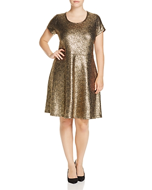 Michael Michael Kors Plus Metallic Fit-and-Flare Dress