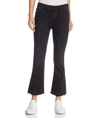 Le Crop Mini Boot Released Hem Embellished Jeans In Mott Street