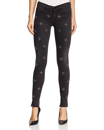 FRAME - Le Skinny Studded Double Raw-Edge Jeans in Carlton Studs - 100% Exclusive