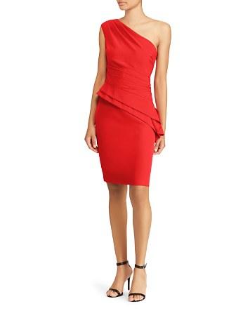$Lauren Ralph Lauren One-Shoulder Peplum Dress - Bloomingdale's