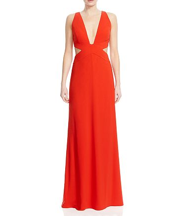 HALSTON HERITAGE - Deep V-Neck Cutout Gown