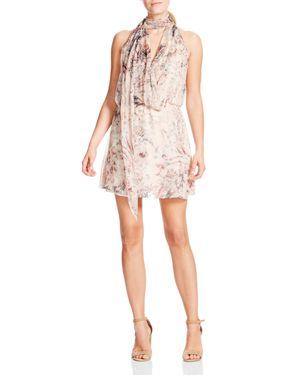 Haute Hippie Ginny Floral-Print Silk Mini Halter Dress