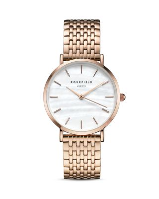 ROSEFIELD Upper East Side Bracelet Watch, 33Mm in Rose Gold/ White/ Rose Gold