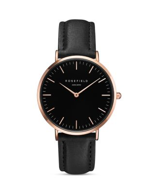 Bowery Leather Strap Watch, 38Mm, Black/ Rose Gold