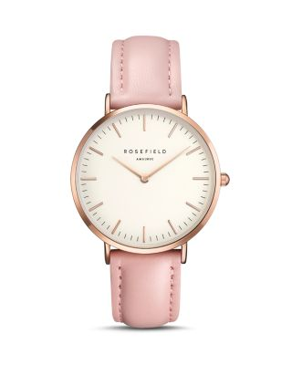 B-W-Pr-B7 The Bowery Stainless Steel Leather Strap Watch, Pink