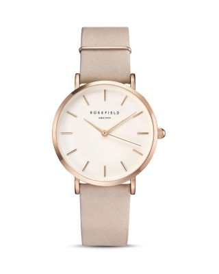 ROSEFIELD Holiday Leather Strap Watch & Bracelet Gift Set, 33Mm in Soft Pink/ White/ Rose Gold