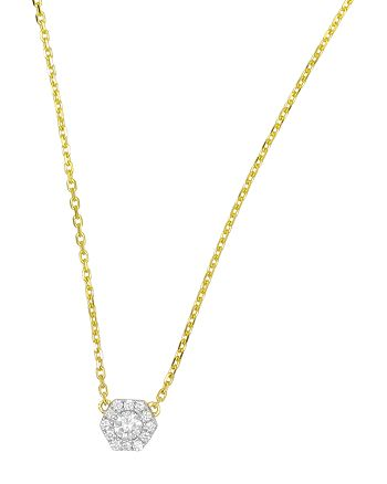 "Frederic Sage - 18K White & Yellow Gold Firenze Small Hexagon Diamond Pendant Necklace, 16"""